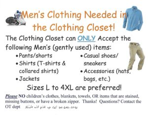 Collecting gently used men's clothing